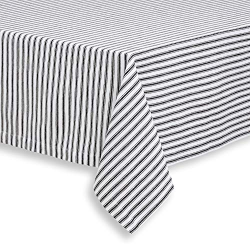 Cackleberry Home Black and White Ticking Stripe Woven Cotton Fabric Tablecloth, 52 x 70 Rectangular