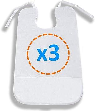 OrtoPrime Pack 3 Babero para Adulto Impermeable - Delantal Ortopédico con Recoge Migas - Rizo de Algodón suave 100% Lavable y Reutilizable - 3 Unidades: Amazon.es: Salud y cuidado personal