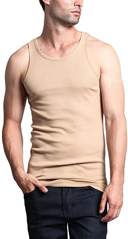 G-Style USA Mens Basic Solid Ribbed Tank Top 2-Pack