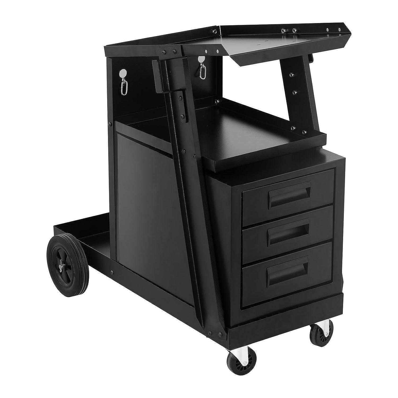 Stamos Welding Chariot À Souder Servante De Soudage Chariot D'Atelier SWG-WC-3D (Charge De 75 kg, 3 Compartiments, Espace Pour Bouteille de Gaz, 2 Chaînes De Sûreté)