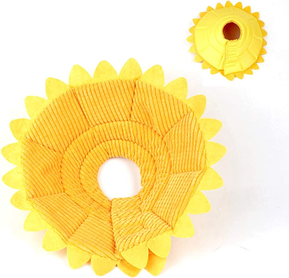 Removable Pet Sunflower Shape Elizabethan Cone Collar - Dogs Cats Cute Soft Comfy Cone, Recovery E-Collar After Surgery,Yellow,S
