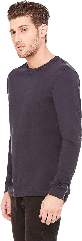 Dark Grey Bella+Canvas Mens Fashionable Long-Sleeve Jersey T-Shirt Small