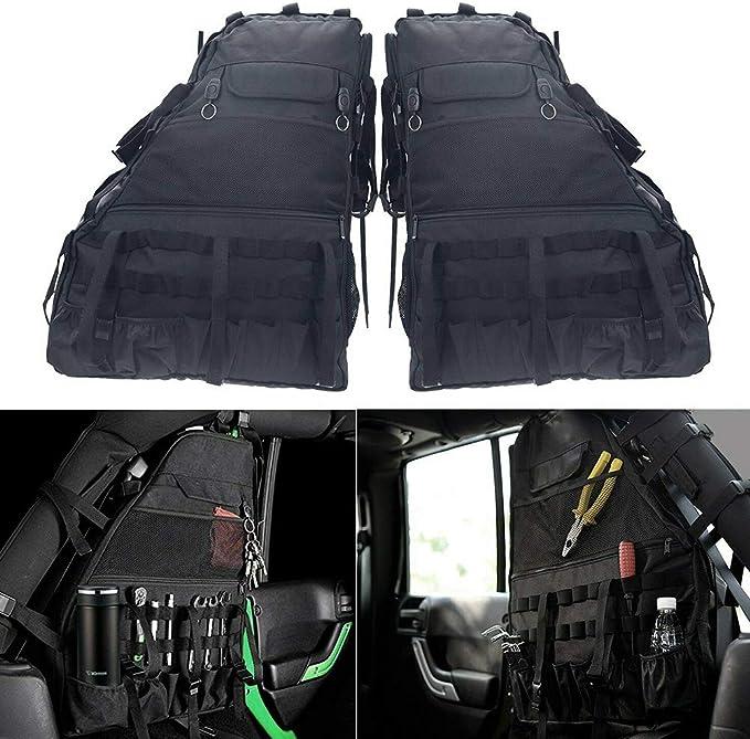 DishyKooker 2 unidades Roll Bar Bolsa de almacenamiento Jaula con múltiples bolsillos & organizador & Cargo Bag Bolsa para sillín de coche Je-ep Wra-ngler J-k accesorios
