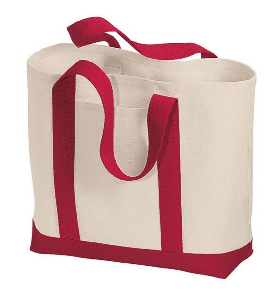 スタイリッシュなツートンカラーReusable Grocery Shoppingトートバッグ L レッド B07D1DQS4C レッド 6 レッド