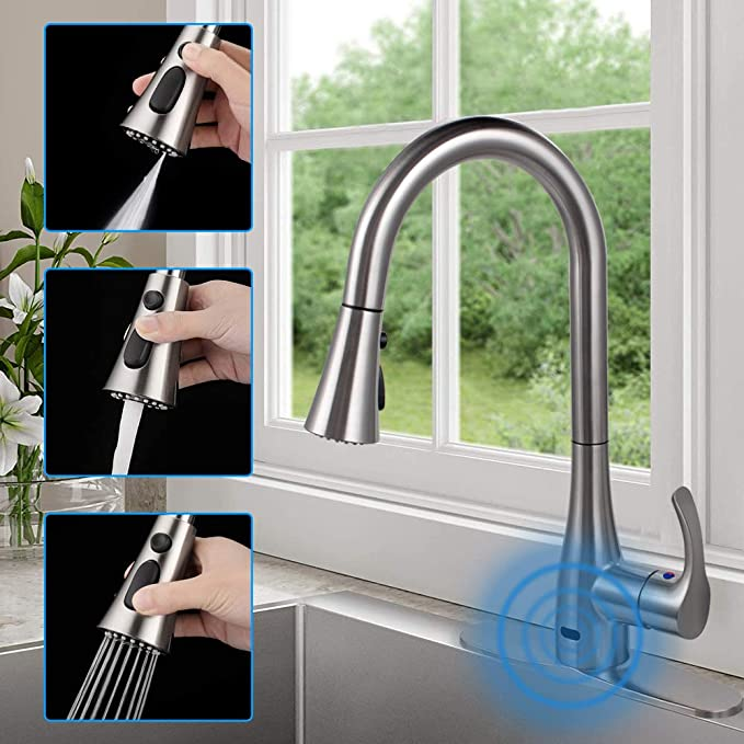 Touch Kitchen Faucet Sink Pull Out Sprayer Brushed Nickel Single Handle Mixer