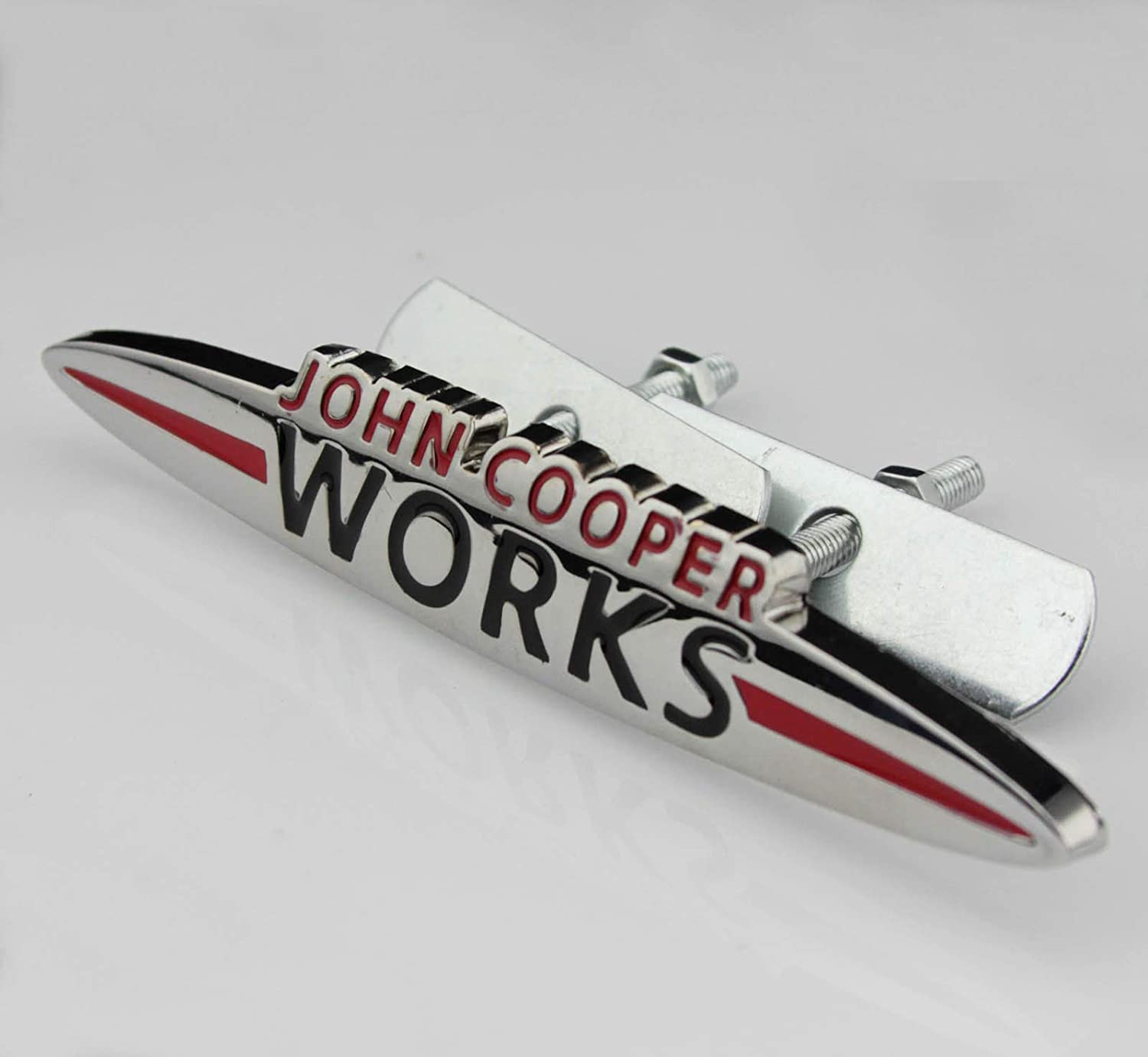 Chrome John Cooper Works 120mm x 20mm Metal Front Grill Bonnet Badge Emblem For Cooper S