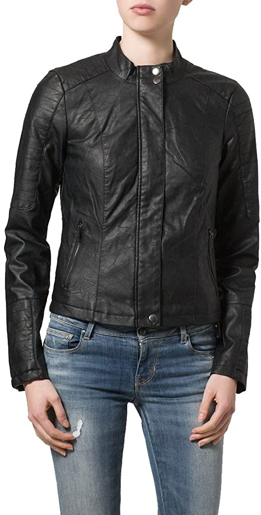 New Womens Leather Slim Fit Genuine Lambskin Biker Jacket LTW069