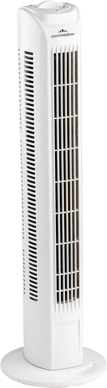 entilador de torre Commodoor 45 W I 3 niveles de velocidad I Ventilador de torre 78 cm I Ventilador de torre silencioso I Ventilador de pie I Ventilador de columna I Ventilador de oscilación Fan
