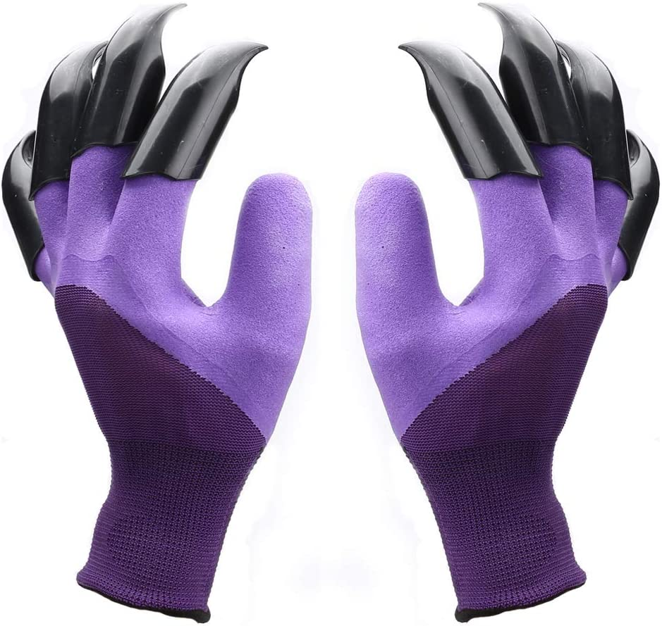 Claw Gardening Gloves for Digging and Planting, Best Gift for Gardener and Women (Purple 1 pairs)