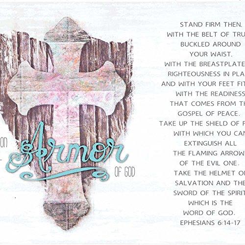 Armor Of God Fleur De Lis Cross Speckled White 10 x 8 Wood Wall Sign Plaque