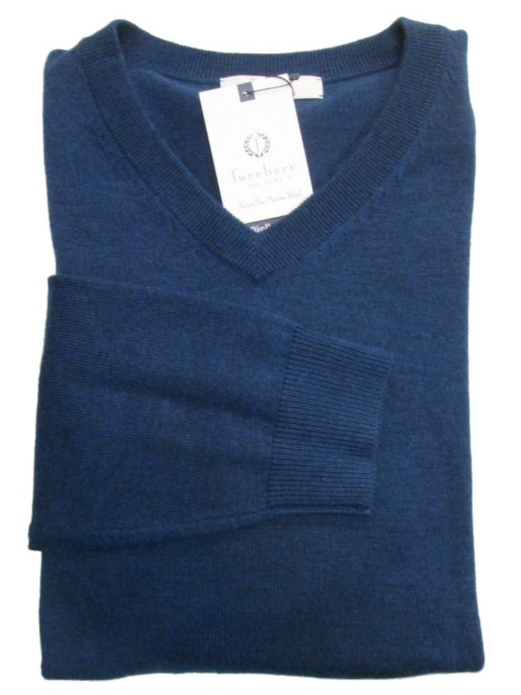 Turnbury Extra Fine Merino Wool Ocean Navy Heather L/S V-Neck Sweater Large