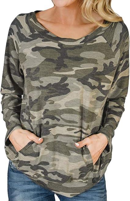 Posional Camiseta de Bolsillo para Mujer Blusa de Camuflaje Mujer Arriba Cuello Redondo Manga Larga Ocio Suelto Chaleco Mujer Verde Militar: Amazon.es: Oficina y papelería