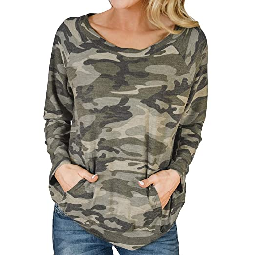 8cffca8f1342c Women Camouflage Print Top T Shirt Long Sleeve Blouse Crew Neck Loose  Pullover Tunic Shirts (