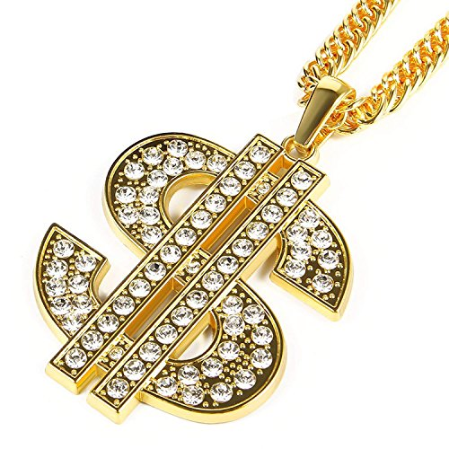 - Bruce Brother Men Gold Plated Chain Necklace Dollar Sign Pendant Costume Hip Hop Jewelry