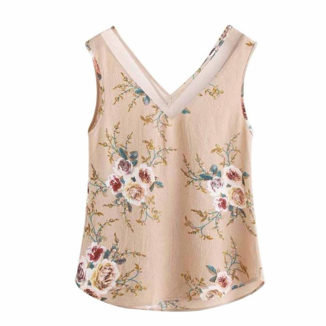 NREALY Chiffon Women Floral Casual Sleeveless Crop Top Vest Tank Shirt Blouse Cami Top (S, Khaki)