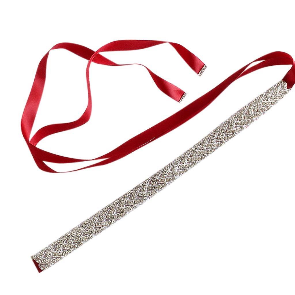 Haptian Cintura da Donna con Cintura Nuziale in Raso con Strass e Cintura in Raso Vino rosso-1pezzo