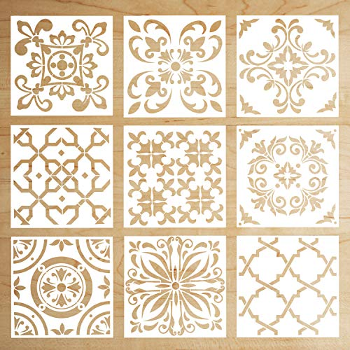 - 9 Pack Mandala Floor Painting Stencils Set(6x6 inch) Reusable Stencils Laser Cut Painting Template for Wall Tile Wood Furniture Fabric