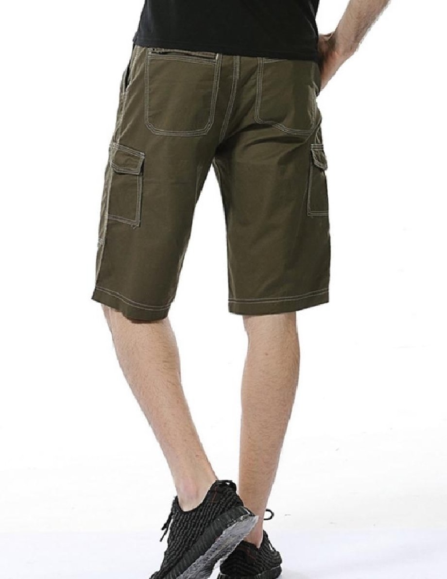 Comfy Men's Oversized Shorts Pocket Fine Cotton Airsoft Cargo Pants Army Green 37 by Comfy-Men (Image #2)