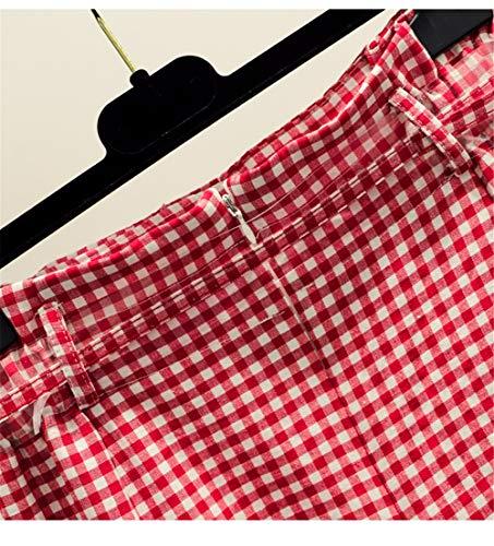 Taille Haute Carreaux Une Longue M Longue De JJNZD Automne Mi Rouge Jupe Femme Jupe Petit Frais Jupe Mot Section t x6w4IO