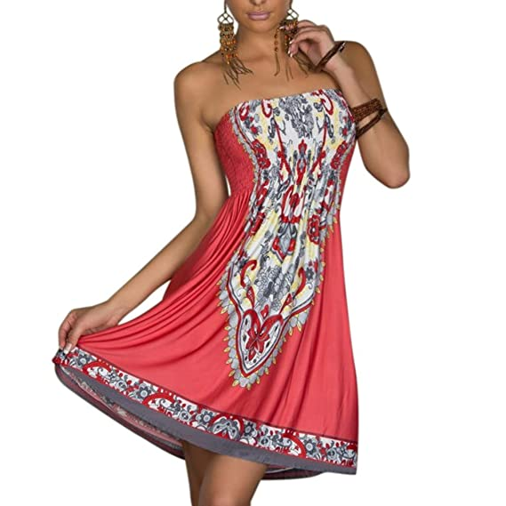 Honghu Vestido Sin Mangas para Mujer Casual Verano sostén sin tirantes Bohemia Dress: Amazon.es: Ropa y accesorios