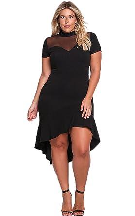 Mesh Dress Plus Size - High Low Mock Neck Ruffle Mesh Mermaid Midi ...