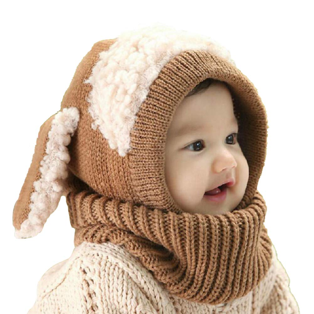 Winter Baby Hats, Toddler Winter Hat Scarf Set, Baby Warm Knit Hat Scarves, Baby Toddler Winter Hat Scarf Set Warm Cap with Ears for Ki ds 6-36 Months