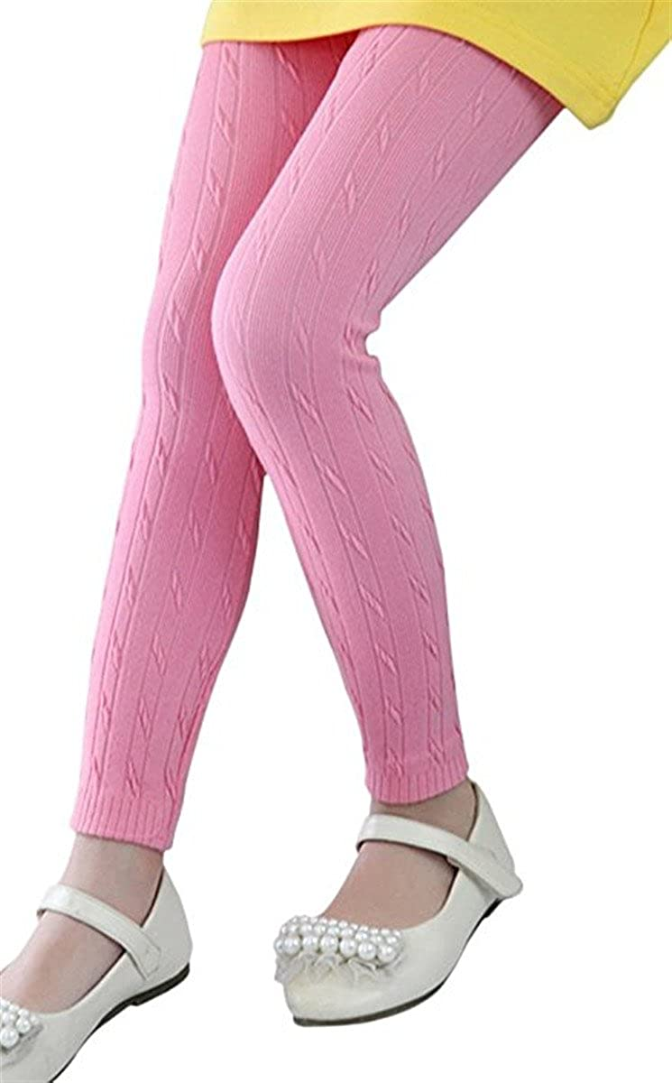 JELEUON Little Girls Kids Winter Spring Cable Knit Stretchy Leggings Pants Tights