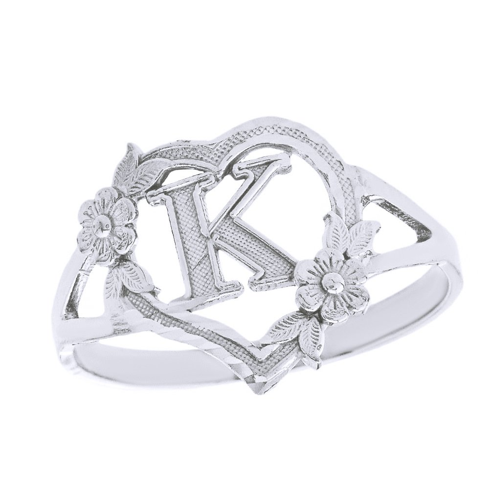 CaliRoseJewelry Sterling Silver Initial Alphabet Heart Personalized Ring (Size 7.75) - Letter K