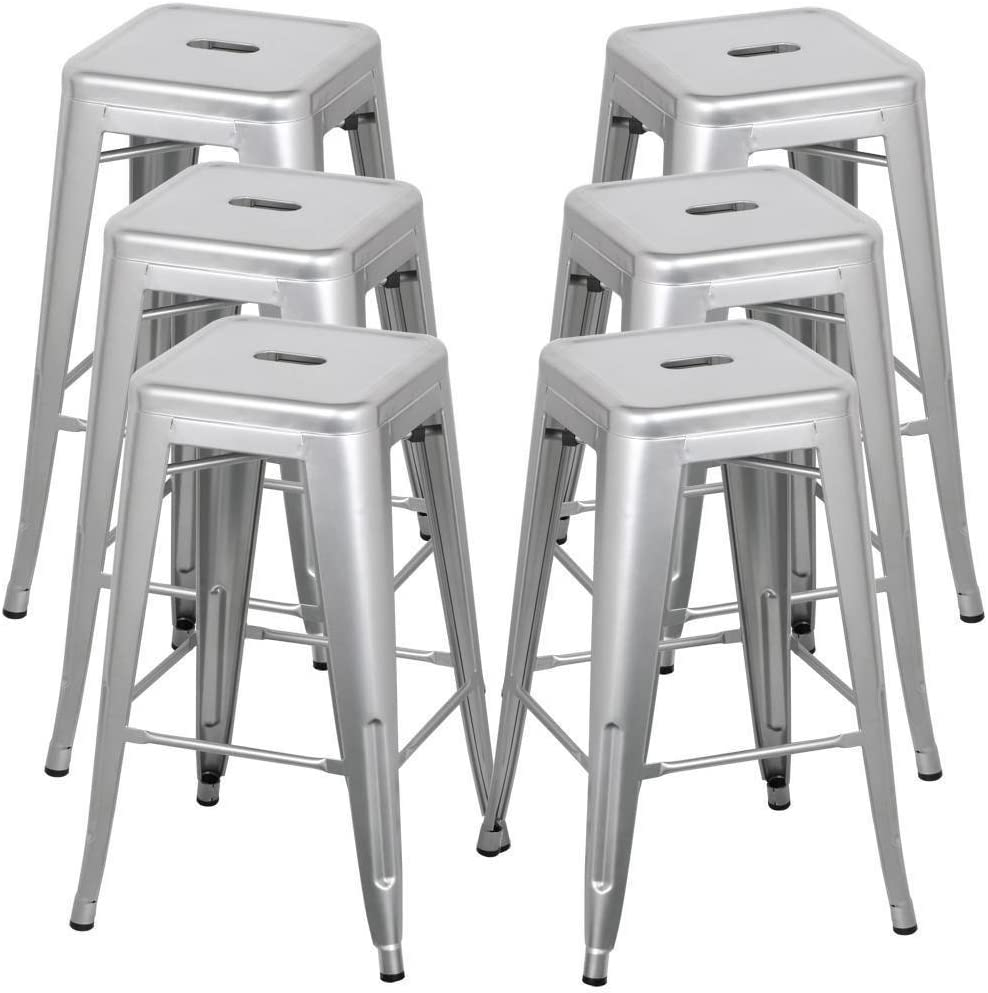 Amazon Com Belleze 30 Inch Metal Bar Stools Modern Barstool Stool Chair Stackable Chair Footrest Gray Set Of 6 Furniture Decor