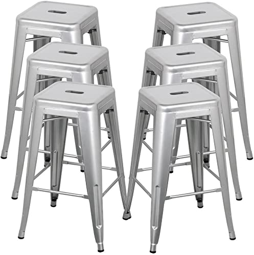BELLEZE 30-inch Metal Bar Stools, Modern Barstool Stool Chair Stackable Chair Footrest Gray Set of 6