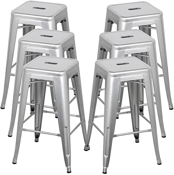 Belleze 30 Inch Metal Bar Stools Modern Barstool Stool Chair Stackable Chair Footrest Gray Set Of 6 Furniture Decor Amazon Com
