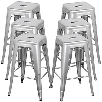 Phenomenal Belleze 30 Inch Metal Bar Stools Modern Barstool Stool Chair Stackable Chair Footrest Gray Set Of 6 Inzonedesignstudio Interior Chair Design Inzonedesignstudiocom