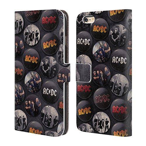 Officiel AC/DC ACDC Groupe Épingles De Bouton Étui Coque De Livre En Cuir Pour Apple iPhone 6 Plus / 6s Plus