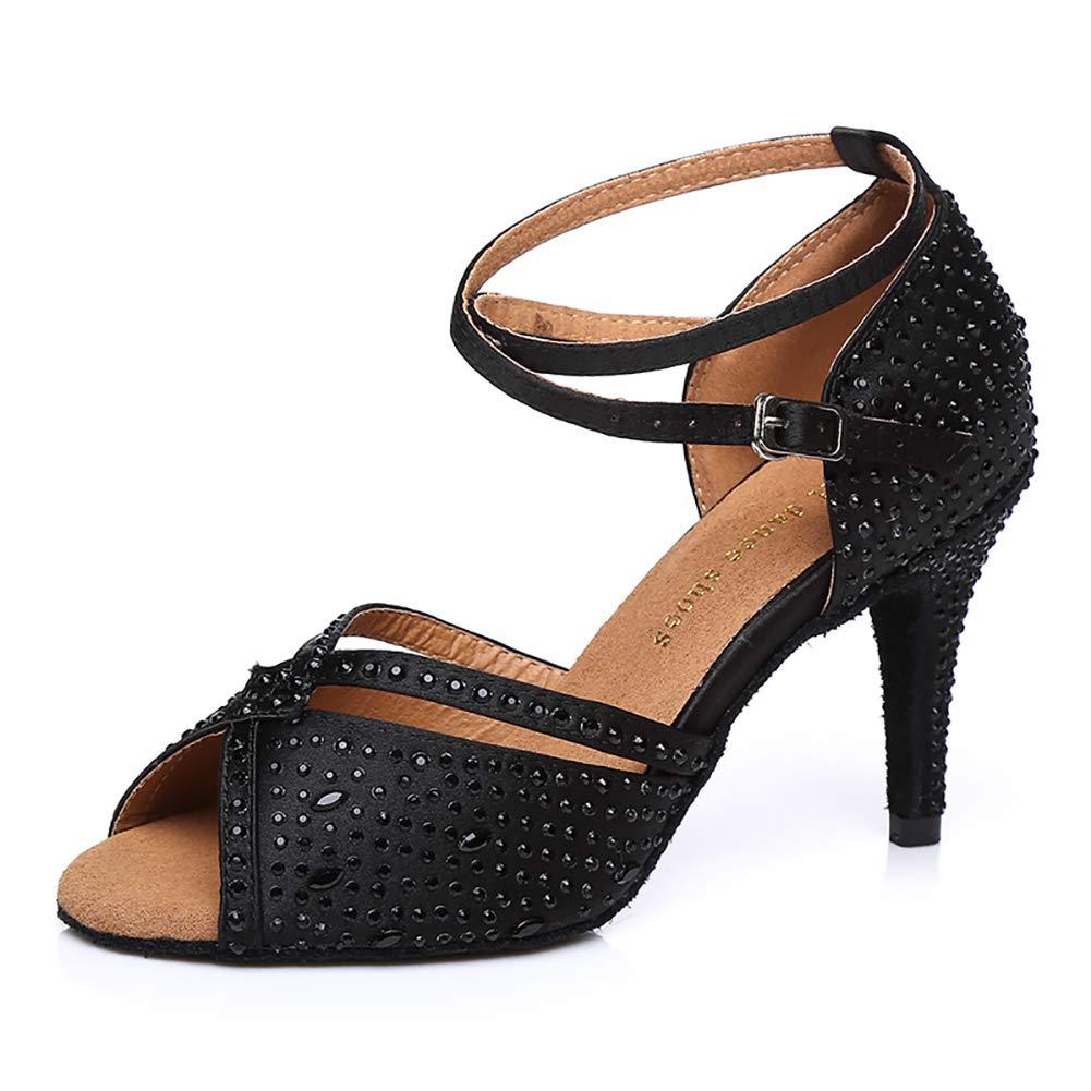 Noir(heel 8.5cm) Femmes Bouche De Poisson Satin Chaussures De Danse Latine Brillant Forage Chaud Fond Mou intérieur Talon Haut Sandales 35EU