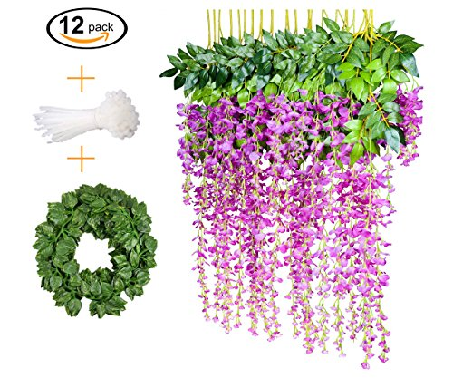 12 PCS, 3.6 feet, Artificial Wisteria Vine Ratta Hanging Garland Silk Flower String Set || Come with a 7 feet Leaf Vine String and 18 pcs Zip Ties || By - Me Glasses Store Best Near