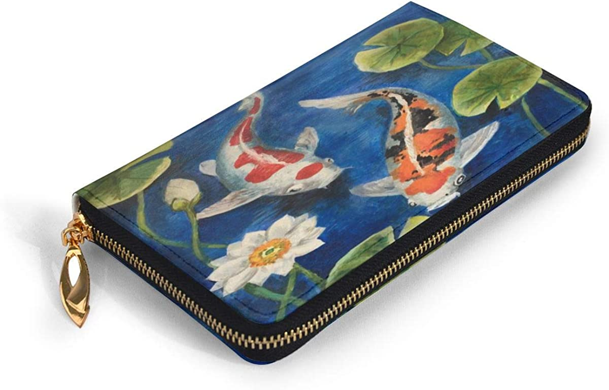 12 Slots Card Holder Leather For Teenage Girls Colorful Koi Fish Pond Womens Leather Wallet Clutch Bag Long Purse Organizer