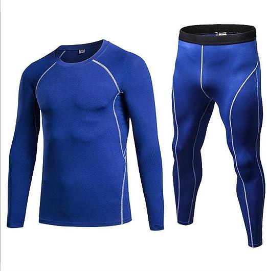 GKKXUE factory Hombre Entrenamiento Polainas Fitness Yoga Pantalones Deportivos+Traje de Camisa (Color : Azul, Tamaño : L): Amazon.es: Jardín