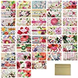 """Hatinkaart – Long Thank You Card - Set of 40 Different Double-Sided Designs - 6.1"""" x 3.5"""" - with 40 Kraft Envelopes"""