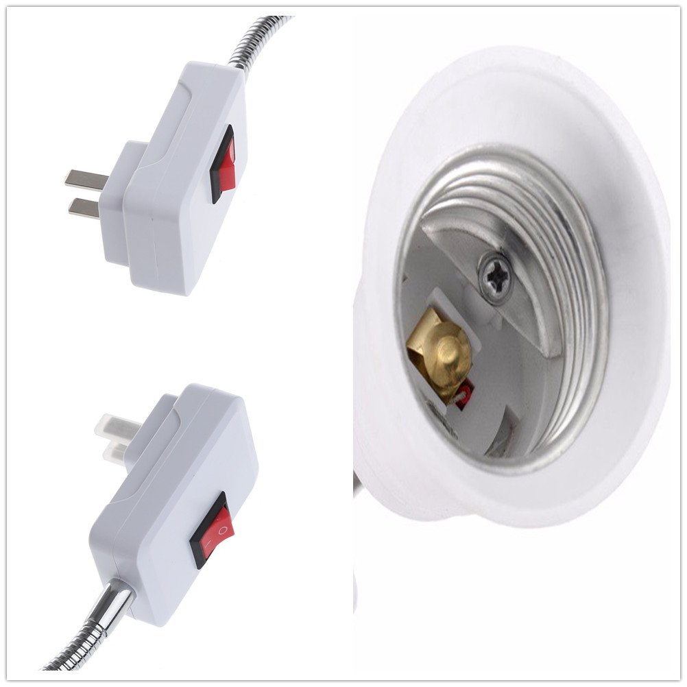 (2-Pack)E27//E26 Socket Adapter with On//Off Switch Light Lamp Bulb All Direction Extension Adapter Extenders for Home Light Fixtures Socket Converter Bulbs Plug