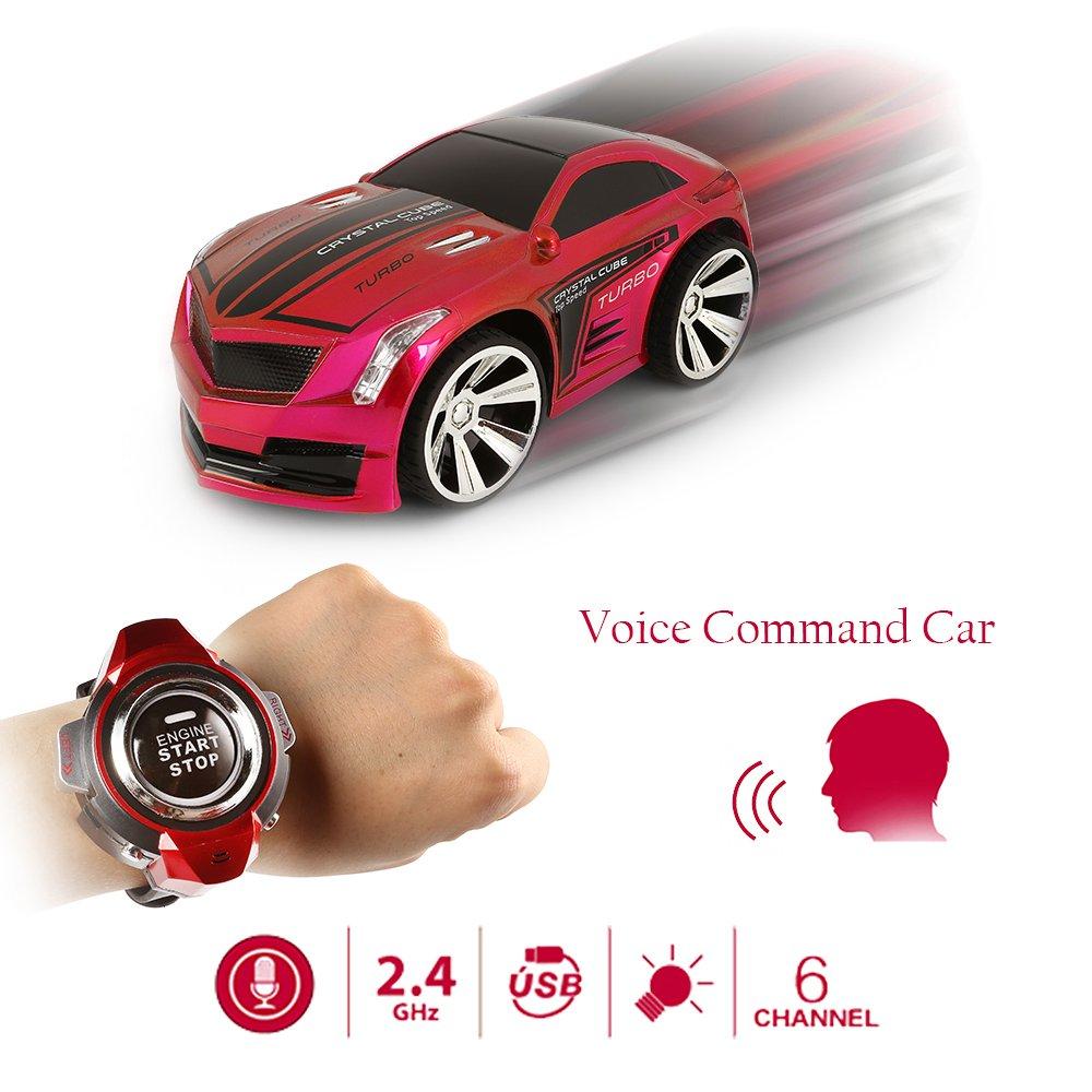 SainSmart Jr. VC-03 Comando de voz de coches, recargable del control de radio por Smart Watch, creativo activado por la voz del coche de RC, que deslumbra ...