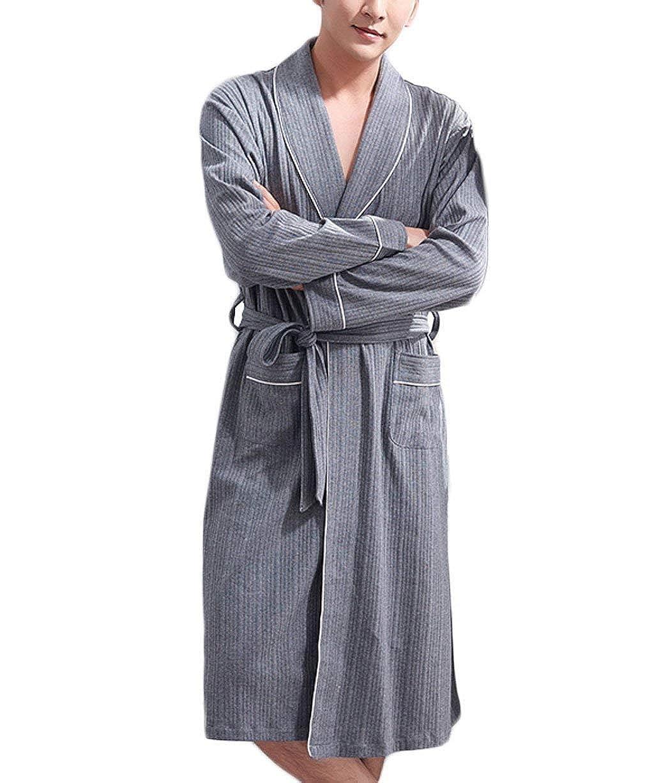 HaiDean Pijama De Algodón De Suave Los Pijama Hombres Modernas Casual Y Cómodo Albornoz Y Otoño Informal Bata De Baño De Casa Vestido De Ropa: Amazon.es: ...