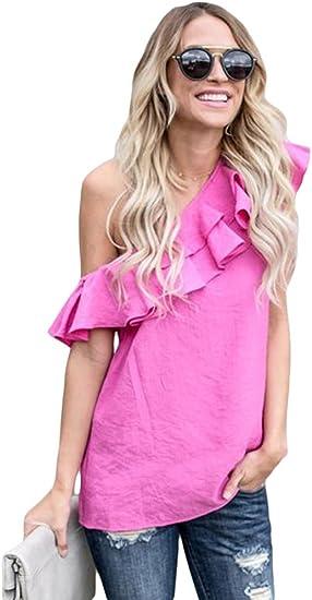 Amazon.es: volantes Rosa Blusas y camisas Camisetas