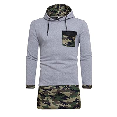 Abetteric Men's Fashion Mid Long Splice Color Drawstring Individuality Hoodies