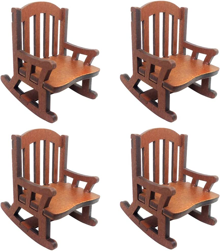 Tongina Pack 4 Dollhouse Wooden Rocking Chair, 1:12 Miniature Dollhouse Furniture Accessories, DIY Christmas Birthday Ornament Kit