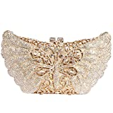 Digabi Butterfly Purses For women New Style Luxury Rhinestone Crystal Evening Clutch Bags (One Size : 8.3 IN (L) x 4.7 IN (H) x 1.77 IN (W), White Crystal - Gold Plated)