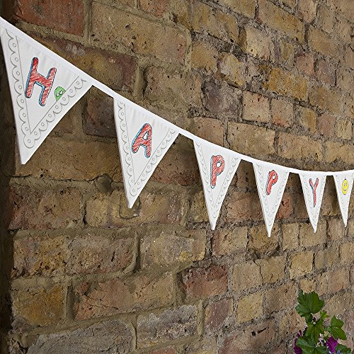 Doodle Celebration Cotton Canvas Pennant Banner Bunting Kit to Personalize, with Wash-out Fabric Markers included, White Flag Banner