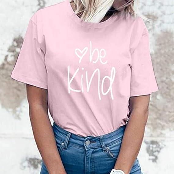 AKwell Women Girls Summer O-Neck Letter Short Sleeve Tops Casual Sport Blouse Shirt