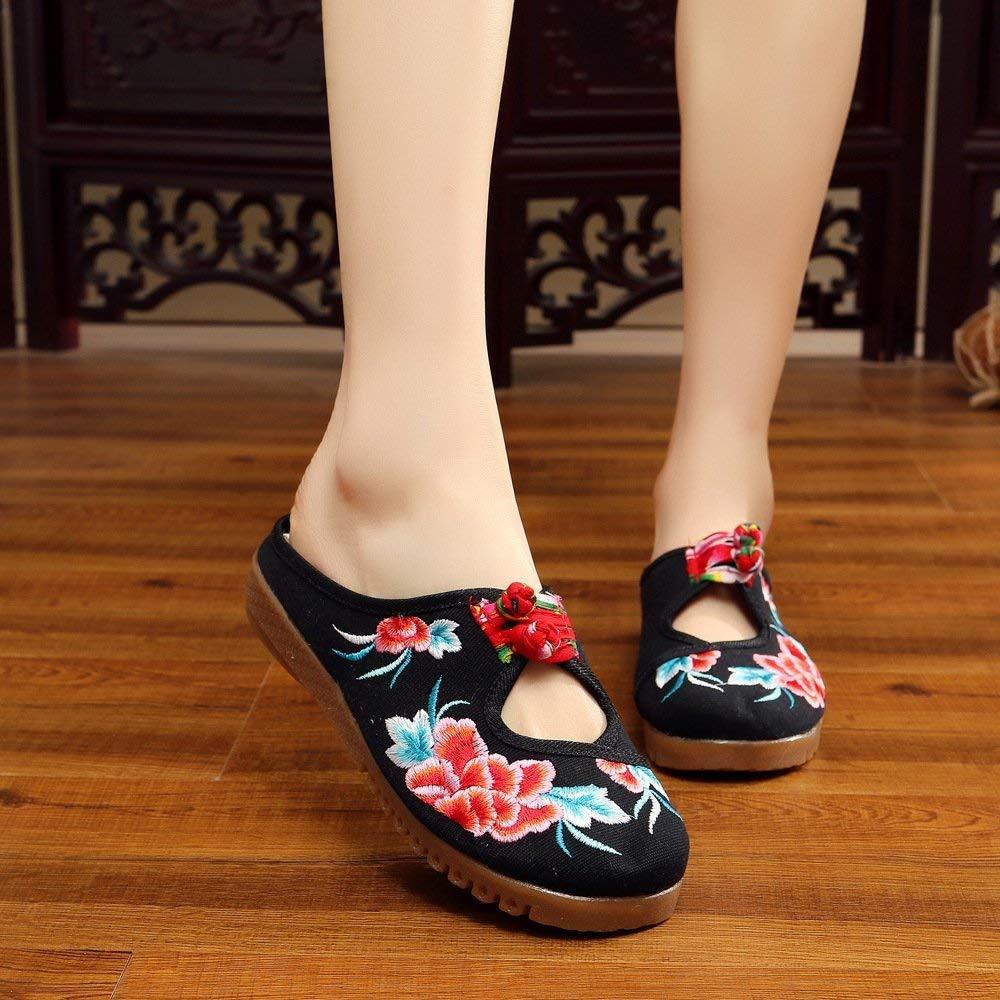 Eeayyygch Bestickte Bestickte Bestickte Schuhe Sehnensohle ethnischer Stil weiblicher Flip Flop Mode Bequeme lässige Sandalen Schwarz (Farbe   - Größe   -) 64e692