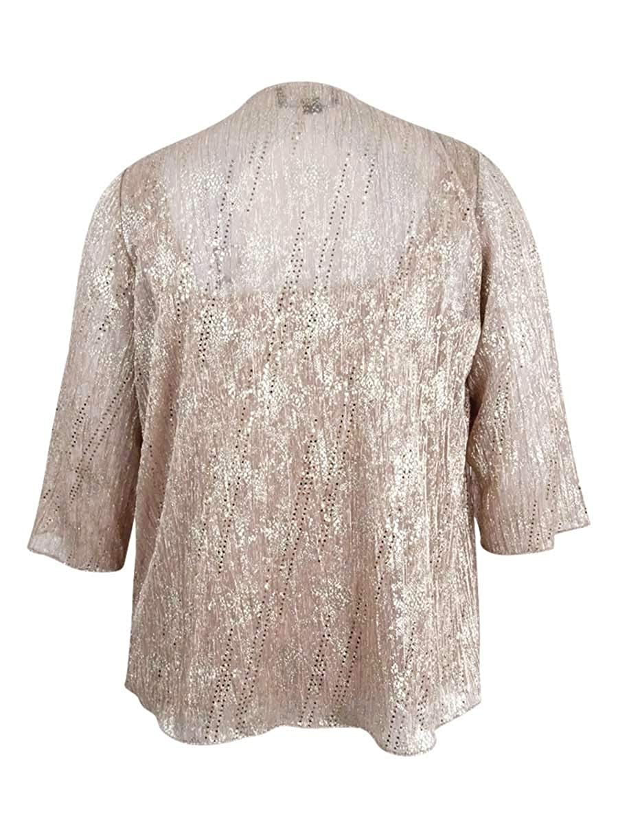 9579317d277 Alex Evenings Women s Plus Size 2 PC Metallic Shell   Jacket (1X ...