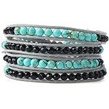 Wrap Bracelet 4mm Round Turquoise Gemstone and Black Crystal Beads on Soft Leather Cord Four Wraps Women Bracelet